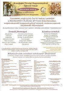 hagyományőrző adventi vásár  dec 19-23.